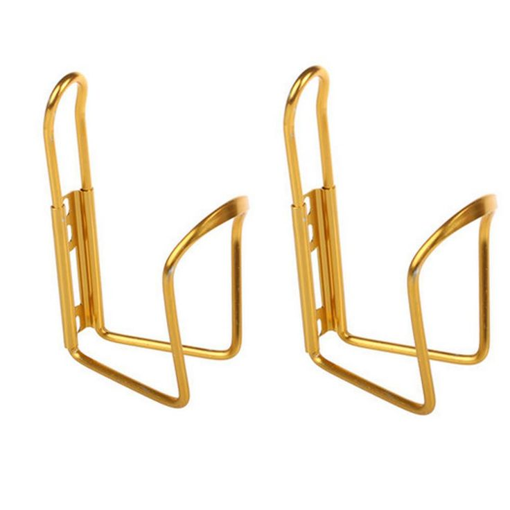 Set of 2 Aluminium Alloy Water Bottle Cages Bicycle Bottle Holder+2 Screw-Golden