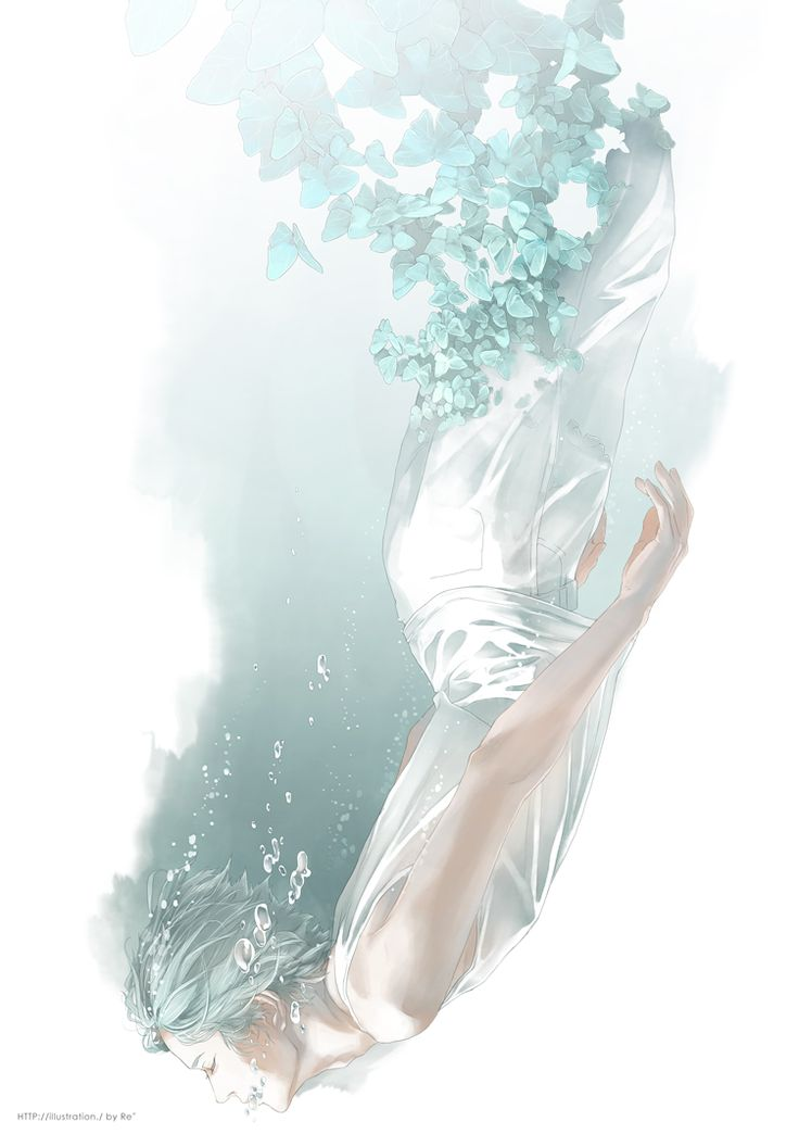 Re°, White Pants, Water Bubbles, Upside Down, Sleeveless Shirt, Underwater