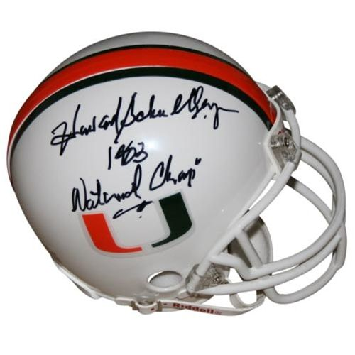 "Howard Schnellenberger Autographed Miami Hurricanes Mini Helmet w/ ""'83 Natl Champs"