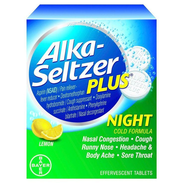 Alka-Seltzer Plus Lemon Night Cold Effervescent Tablets - 20 Count