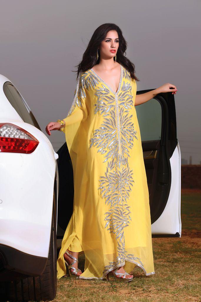 Yellow Star Kaftan - Sanjana Couture from Kaftan Connection
