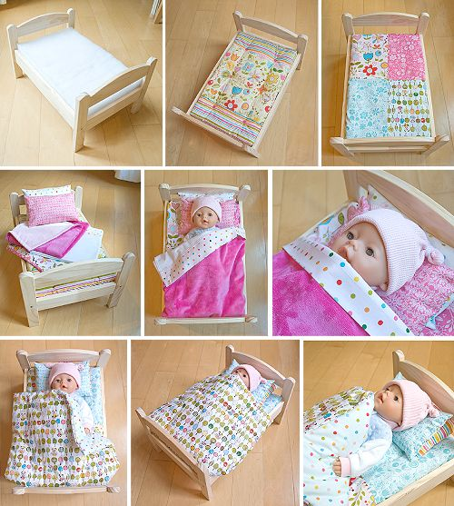 Free doll bedding pattern for Ikea Duktig doll bed. Will fit BABY Born and American Girl dolls.