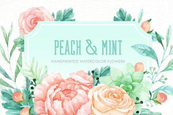 Peach And Mint Watercolor Clipart Watercolor Flowers Wreath