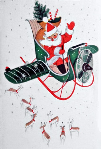 """Vintage Santa in Airplane Sleigh --- from collection of vintage holiday postcard image scans that were """"cleaned up""""   to remove discoloration, foxing, folds and such."""