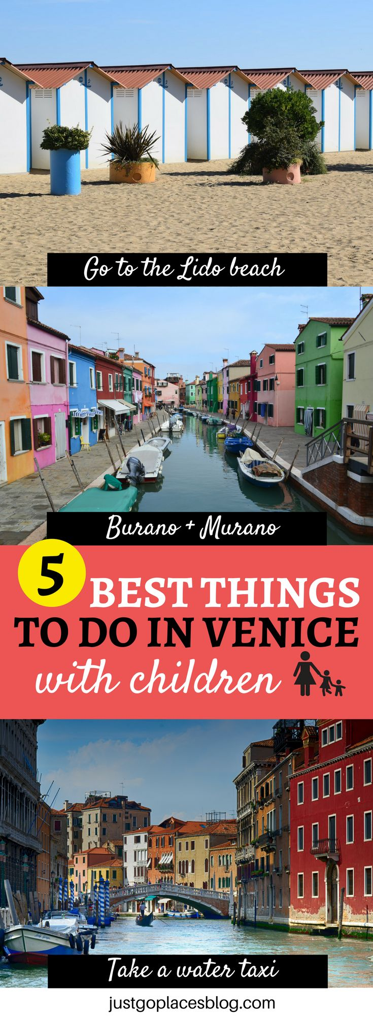 5 best things to do in Venice with children: it includes speeding on a water taxi, spending some time at the Lido Beach, discovering the islands of Burano and Murano and more! | what to do in Venice, Italy | Venice with kids | Venice travel guide #venice #veniceitaly #venezia - via @justgoplaces