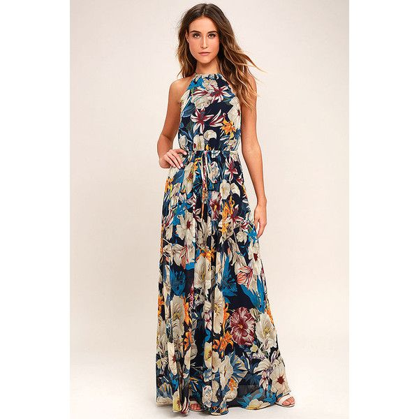Gazebo Spirit Navy Blue Floral Print Maxi Dress ($89) ❤ liked on Polyvore featuring dresses, blue, navy maxi dress, navy blue dress, navy blue maxi dress, navy blue maxi skirt and tie-dye maxi skirts
