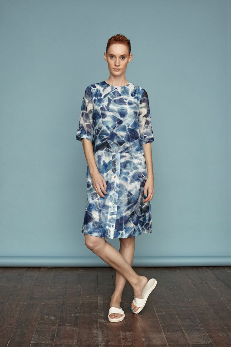 Water surface print with hand-paint from Dori Tomcsanyi.  #doritomcsanyi #ss15 #lookbook #collection #handpaint #digitalprint #waterprint