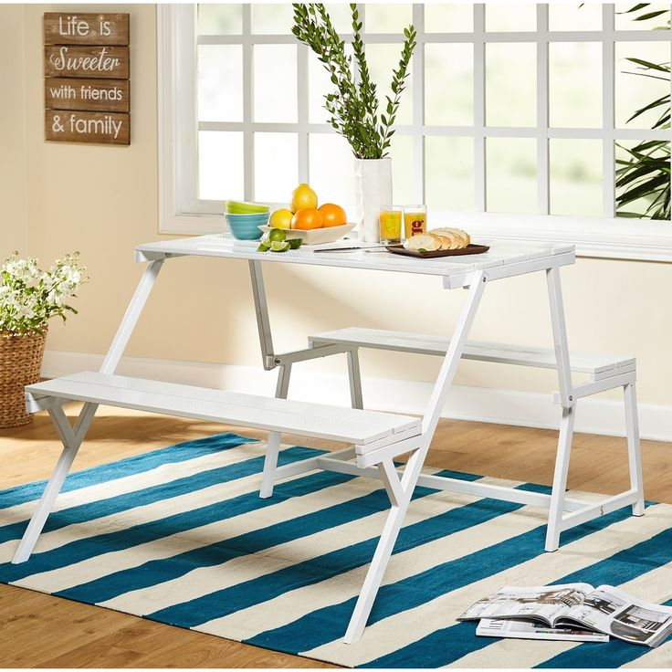 Simple Living Metal Folding Table and Bench Set