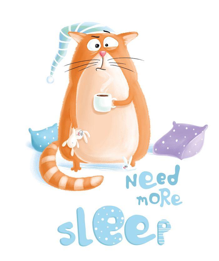 Посмотреть иллюстрацию Маргарита Кухтина - Сонный кот. Принт для коллекции одежды и аксессуаров Alessandro Frenza