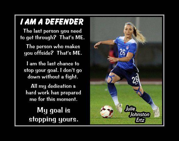 Inspirational Julie Ertz Soccer Quote Wall Art Poster Daughter Best Friend Birthday Gift For Kids Champion Photo Decor 8x10 16x20 Soccer Motivation Soccer Defender Soccer Training