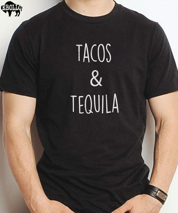 "Tacos & Tequila Men's T Shirt Valentines Day Gift Husband Gift Dad Shirt Wife Gift Daddy Shirt Tequila Shirt    All our t-shirts are screen printed by hand and made to order on 100% Cotton Tees.    All shirts are screen printed in a smoke free environment.    Only the best screen printing inks are used. I double hit each design to ensure that the design will last as long as the shirt.    MENS T-SHIRTS    More than just a ""day off"" tee, it strikes a colorful chord by itself or paired with a…"