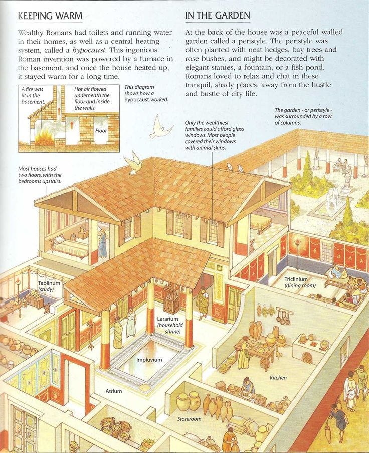 Domus cross-section ~ Encyclopedia of the Roman World, Usborne publishing 2001