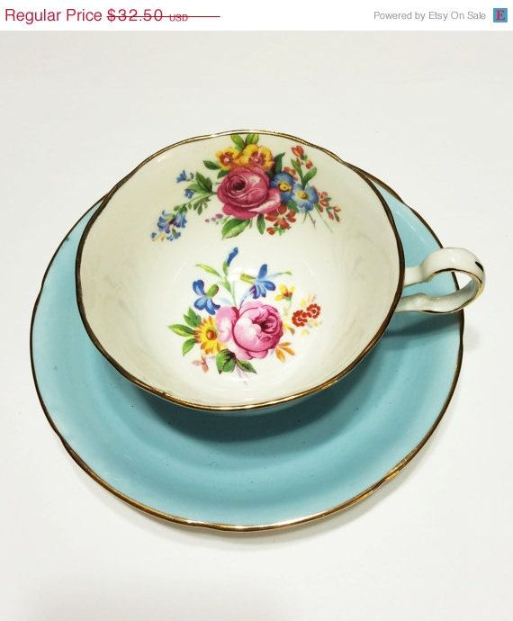 Vintage Bone China Tea Cup, Royal Grafton, Light Blue, Flowers, Wide Rimmed, Gold, Mother's Day Gift, Wedding Gift, 1950s