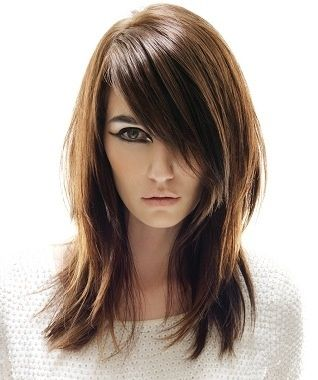 Great cut and color. Medium length, wispy layers, volume, dark brown hair with caramel highlights