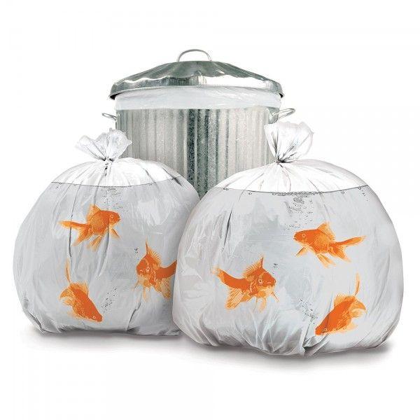 gold fish bowl trash bags :)