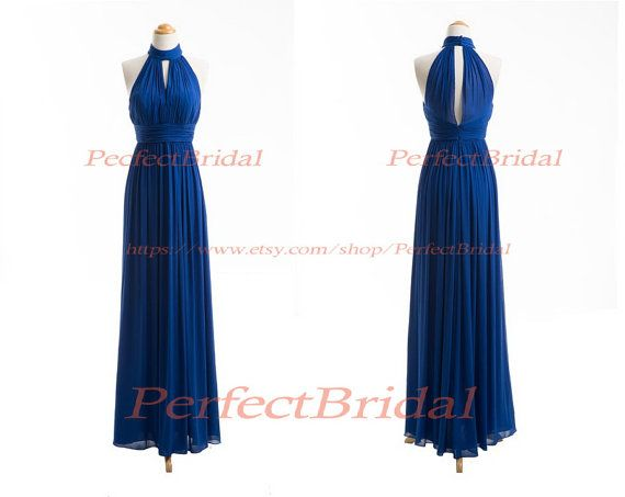 Blue Bridesmaid Dress,Long Bridesmaid Dress Blue,Long Blue Bridesmaid Dress,Halter Neck Bridesmaid Dress BD6040 on Etsy, $89.08