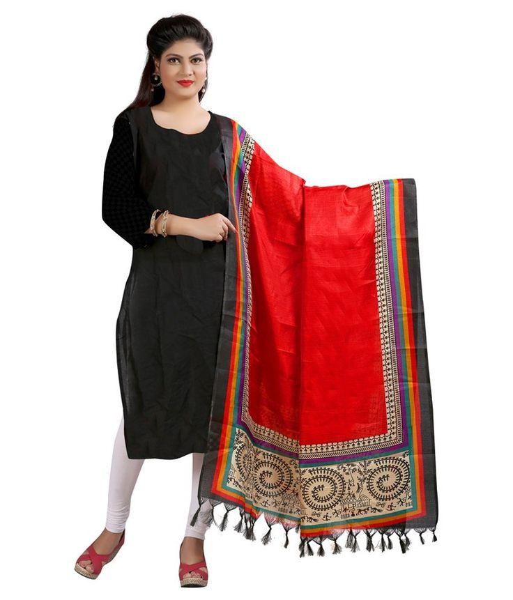 Kajal Sarees Red Art Silk Dupattas - http://weddingcollections.co.in/product/kajal-sarees-red-art-silk-dupattas/