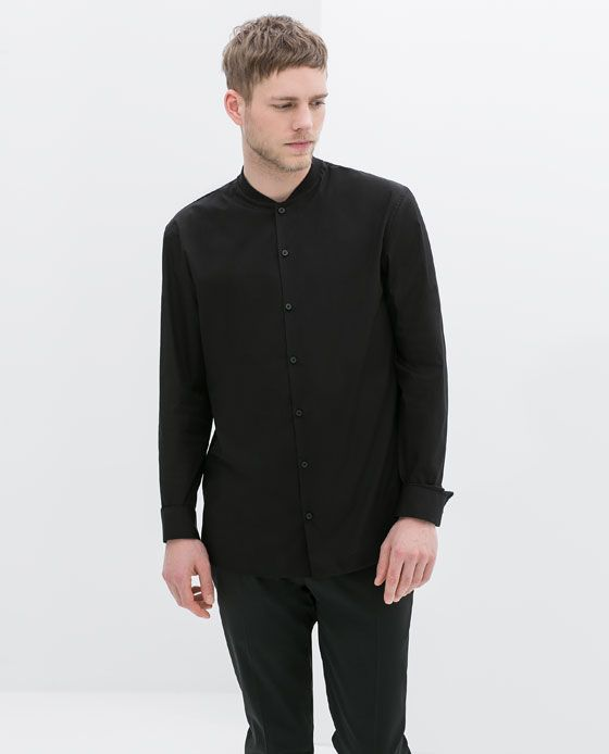 Image 2 of POPLIN SHIRT WITH MAO KNIT COLLAR from Zara