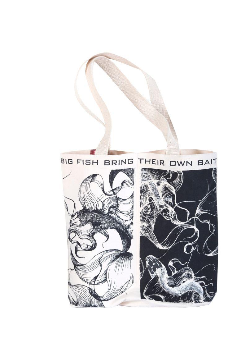 "Prosper Design Studio ""Big Fish Bring Their Own Bait"" Double Wine Tote"