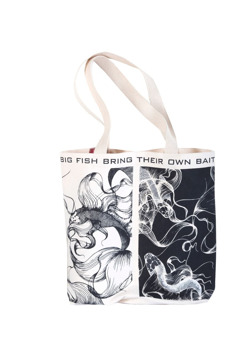 "Original art work and great quality - ""Big Fish Bring Their Own Bait"" Double Wine Tote"