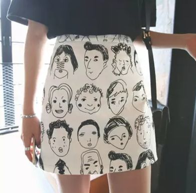 Cute mini picture skirt, eclectic and fun fashion for street style and arty loving Alice trend setters