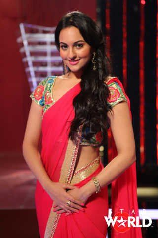 Sonakshi in red.