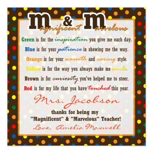 Teacher Appreciation Gift M Poem gift tag Custom Invitation