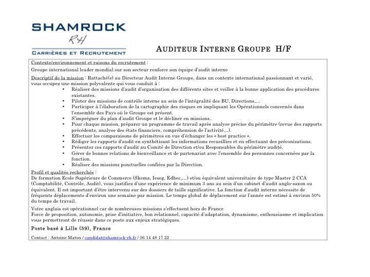 Recrutement : Auditeur(trice) Interne confirmé(e) / avril 2013 / référence Shamrock-362