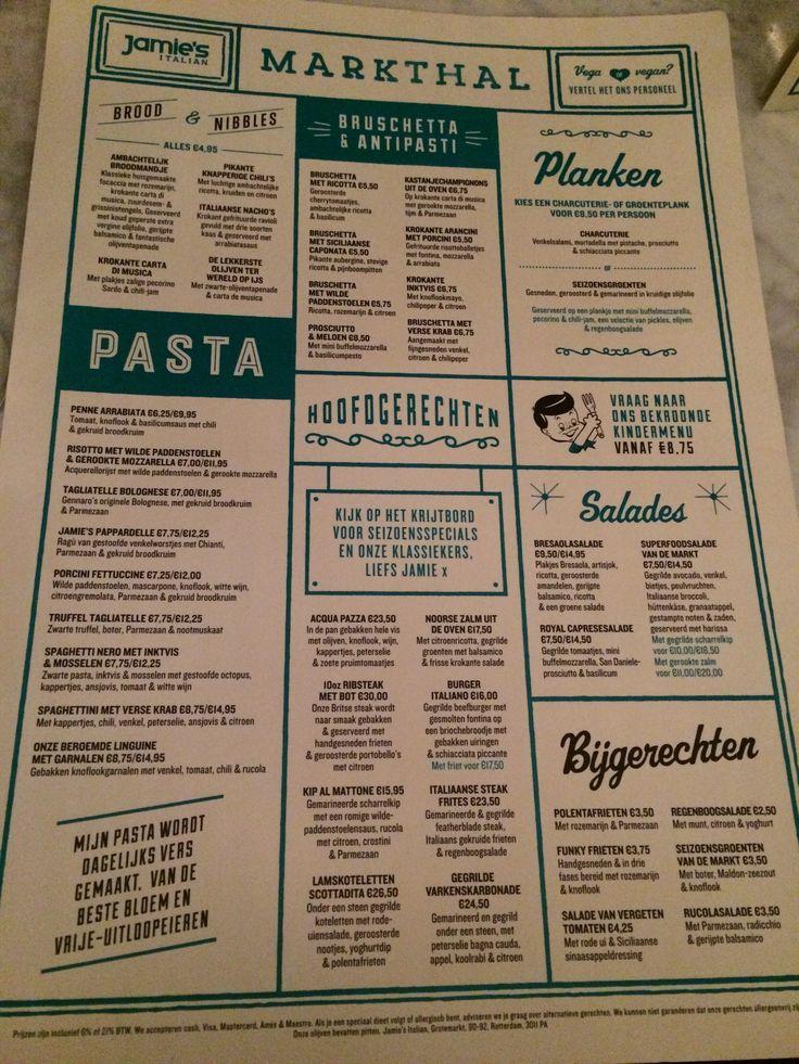 Menukaart van Jamie's Italian in de Markthal, Rotterdam