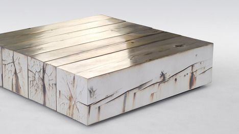 Gold plated silver birch low table