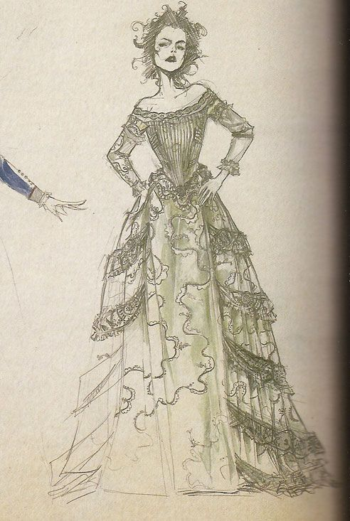 "Concept art by Colleen Atwood for Mrs. Lovett in her nouveau riche dress from ""Sweeney Todd: the Demon Barber of Fleet Street"" (2007)."