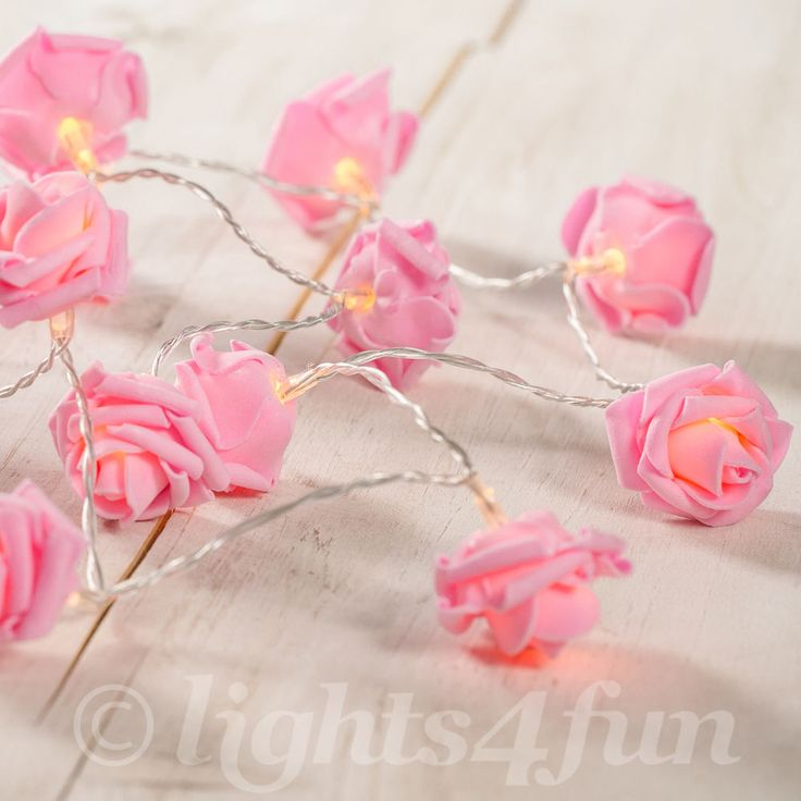 20 Warm White LED Battery Operated Pink Rose Bedroom Fairy Lights 1.9m