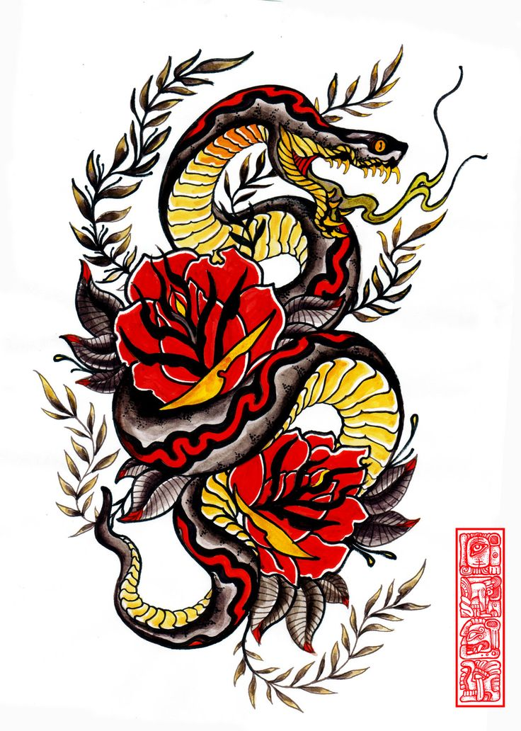 Traditional Snake Head With Roses Tattoo Design