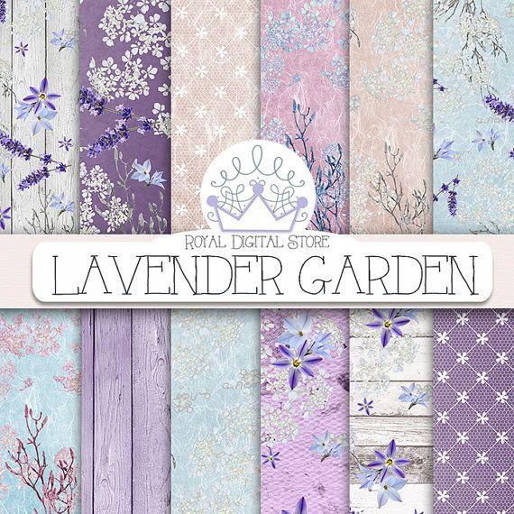 "Flower digital paper: ""LAVENDER GARDEN"" with purple flowers, lavender digital paper, purple scrapbook paper, purple background, digital lace"