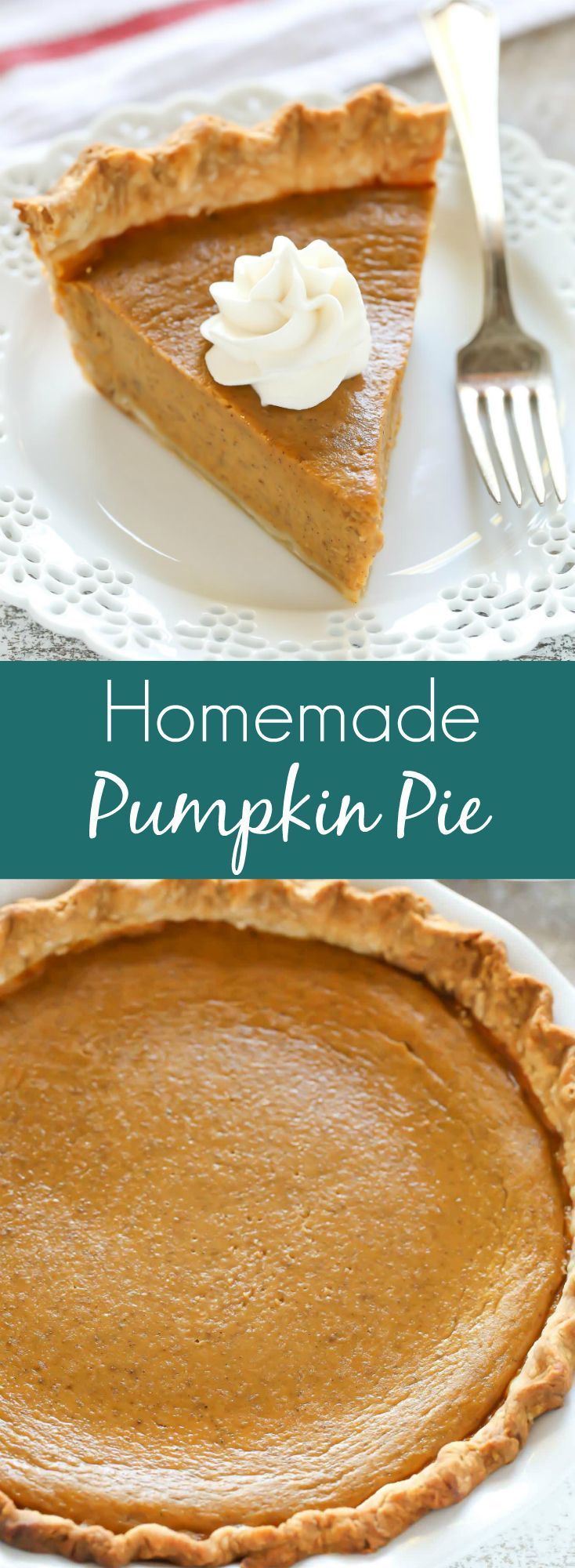 An easy and delicious recipe for Homemade Pumpkin Pie. This is the only pumpkin pie recipe you will ever need and it's perfect for the holidays! (easy pie recipes)