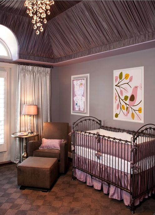 "Purple and grey ""Glamour"" inspired nursery - love it! #nursery"