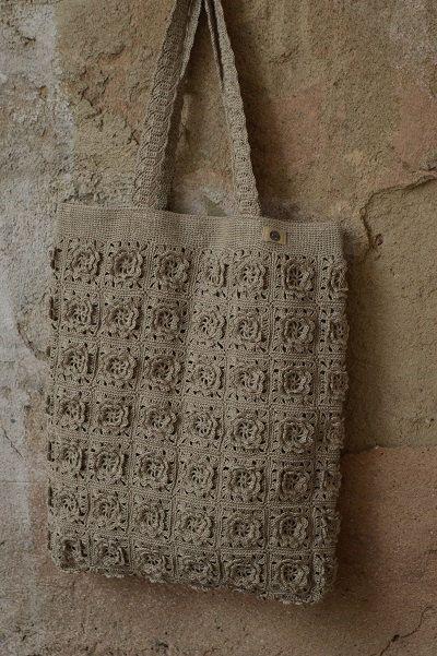LINO naturale grande uncinetto Tote Bag, borsa lino, Eco Tote Bag