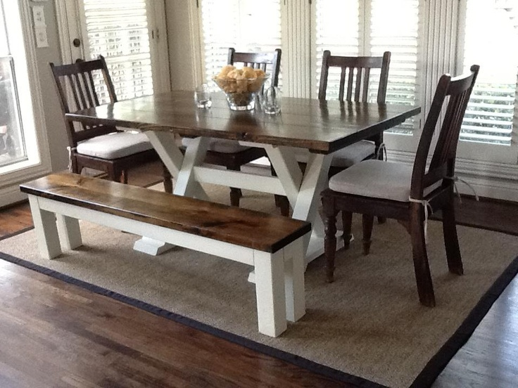 jamesjames all wood x trestle rustic table without apron in dark walnut and ivory - Dining Table Without Chairs