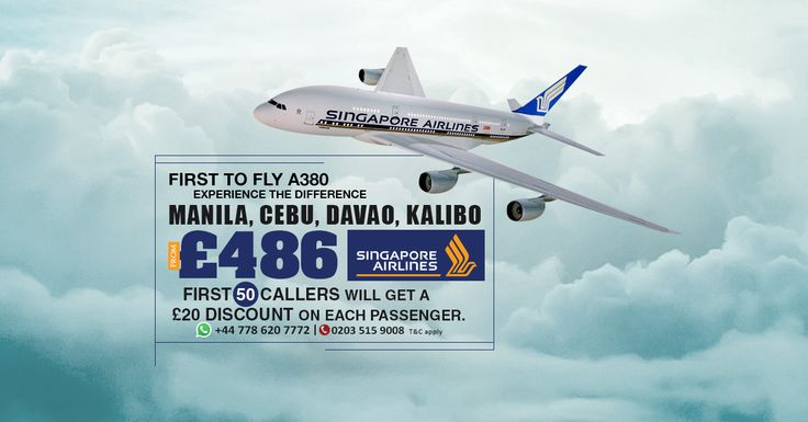 First to fly A380  |   Experience the difference  |    Singapore Airlines ✈  |    #Manila | #Cebu | #Davao | #Kalibo  |   From £486  |    📞 First 50 callers will get a £20 discount on each passenger.  |    📱 WhatsApp: +44 778 620 7772  |   ☎ Call us now: 0203 515 9008  |   💻 Book now: https://www.travelcenter.uk/  |    #travelcenteruk #travel #flights #flightoffers #singaporeairlines
