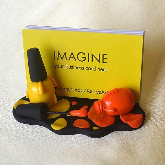 Желтый и оранжевый лак для ногтей Полимерная глина Business Card Holder
