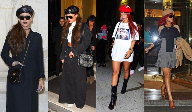 barett mütze stylen stars inspirationen rihanna looks  #fashion #style