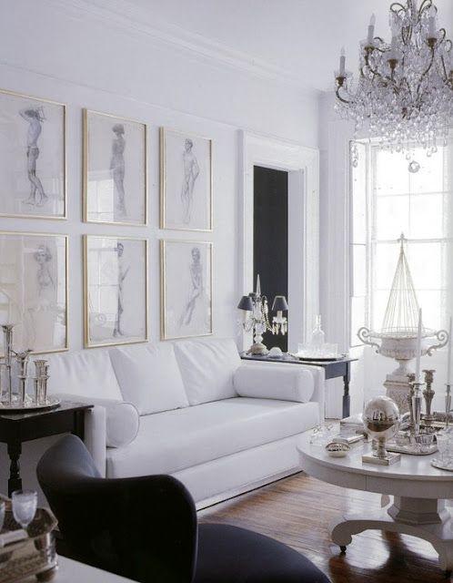 WhiteDecor, A H Beautiful Interiors, White Living, Living Rooms, Black And White, Livingroom, Black White, Gallery Wall, Frames Art