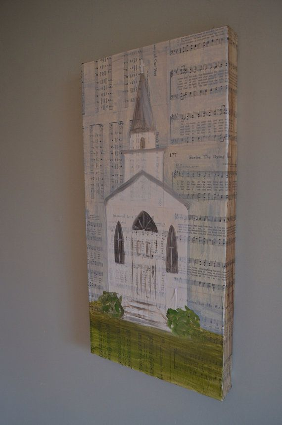 Church with steeple white tall oil painting on vintage hymns hymn sheet music on Etsy, $195.00