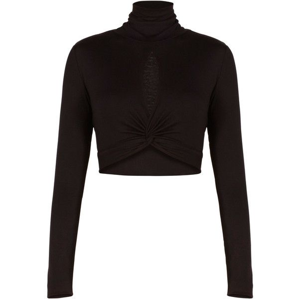 BCBGMAXAZRIA Natalia Turtleneck Twisted Crop Top (155 BRL) ❤ liked on Polyvore featuring tops, shirts, black top, black crop shirt, shirts & tops, black turtleneck shirt and keyhole top