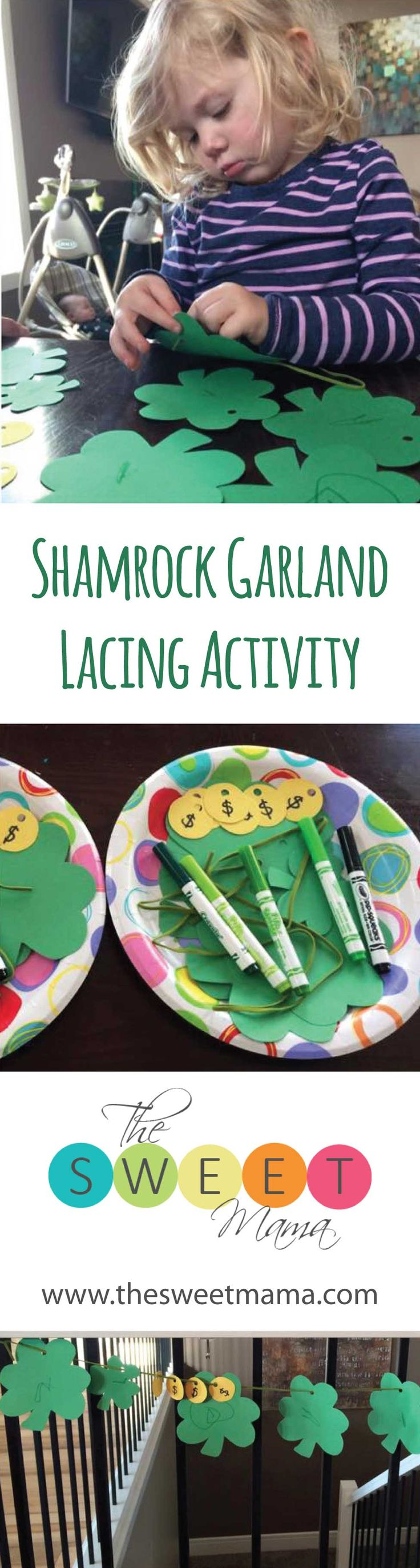 This activity will have your preschooler threading shamrocks & coins to make the cutest St Patty's Day garland!