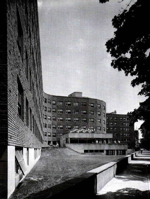 MIT Baker House, Alvar Aalto, 1947-49 - Borromini's San Carlo alle Quattro Fontane/ Serpentine windings of English crescents/ the curved contours of the Finnish lakes, shaped with astonishing smoothness by nature itself