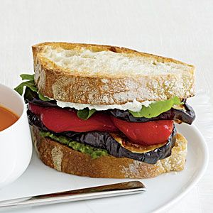 Eggplant + Goat Cheese + Roasted Red Pepper+ Ciabatta = Easy and Delicious Sandwich!