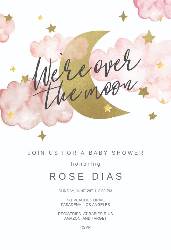 Customize 'Over the Moon' - Baby shower invitation. Add text and photos. Download, print or send online for free!  #invitations #printable #diy #template #babyshower #party