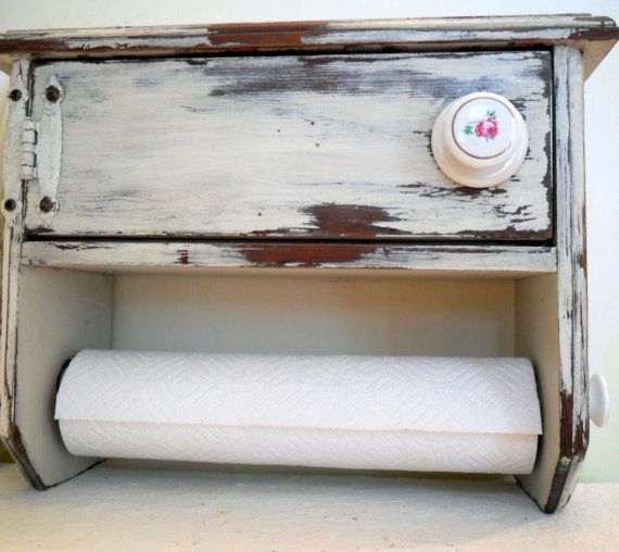 primitive cabinet paper towel holder vintage by DownSouthChicDecor, $95.00