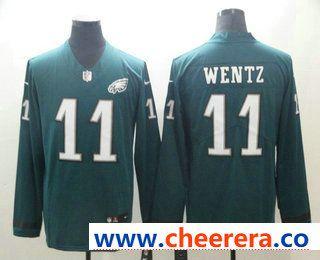 97fb8c019c1 Men's Philadelphia Eagles #11 Carson Wentz Nike Green Therma Long Sleeve Limited  Jersey